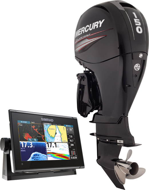 """Get in quick - the first 10 Warrior's sold will power up with a free upgrade to the 150 4-stroke Mercury outboard, and upgraded 12"""" large screen Simrad Navigation display."""