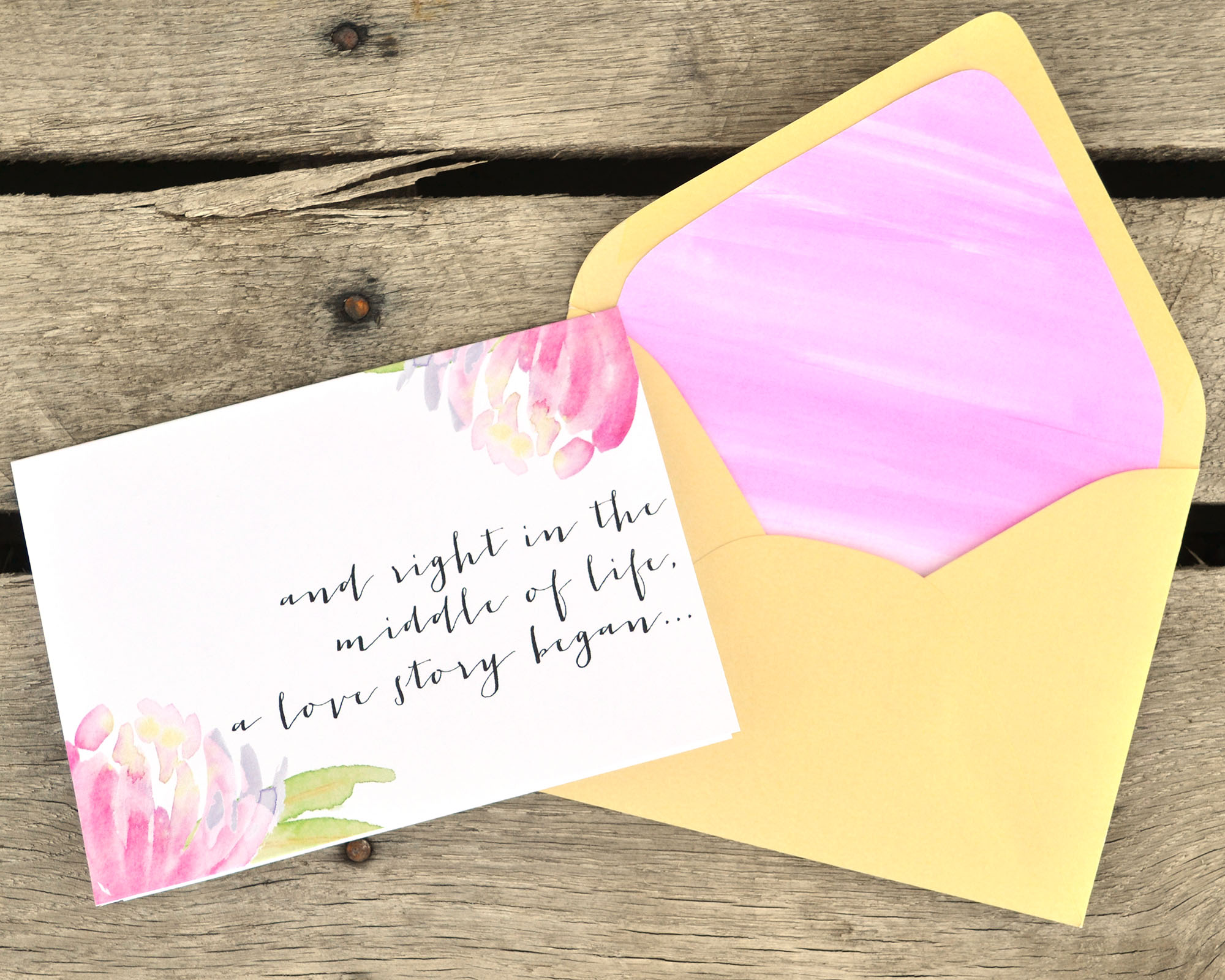 DIY Watercolor Envelope Liner and Valentine Card | Boxwood Avenue