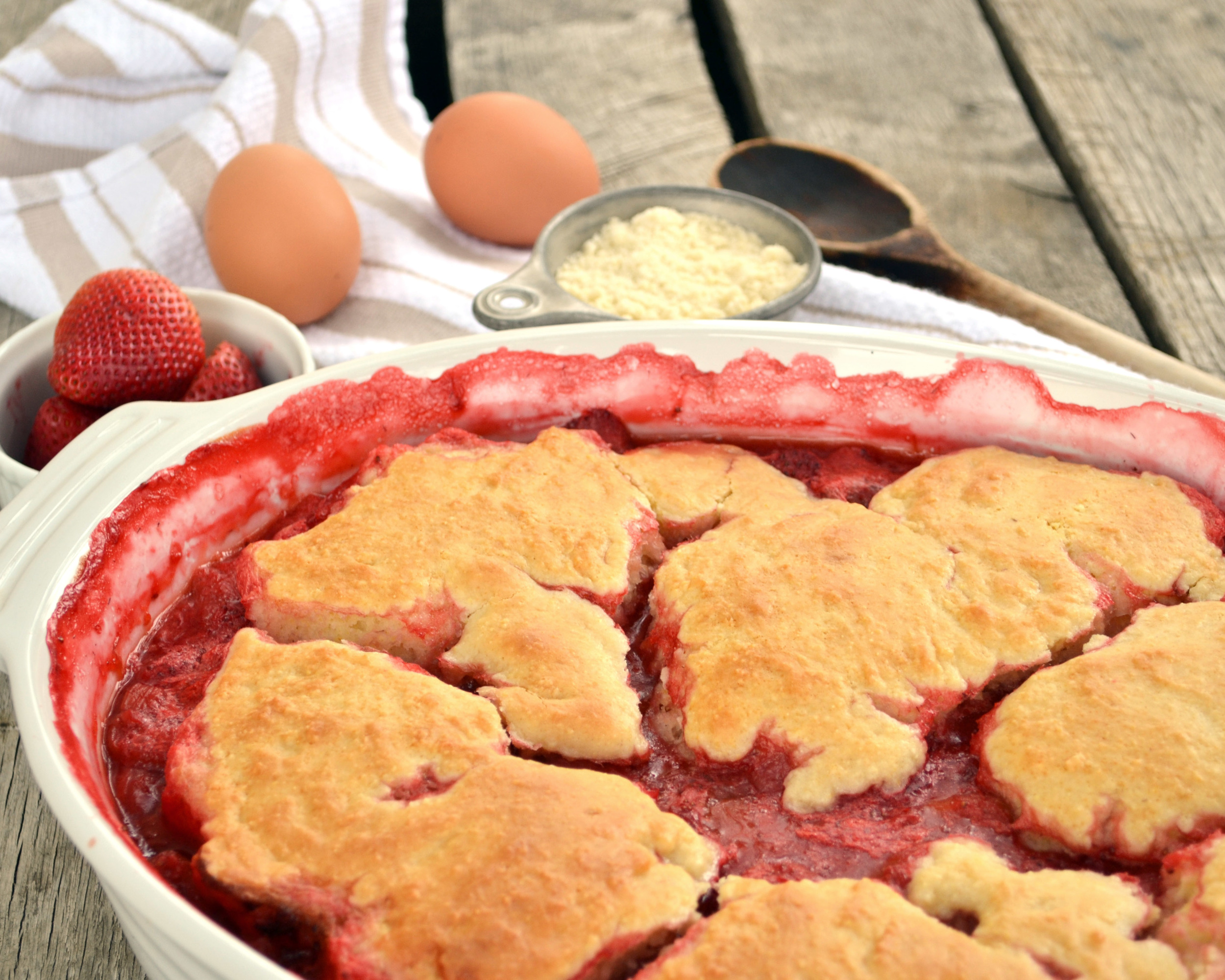Strawberry Rhubarb Cornmeal Cobbler | Boxwood Avenue