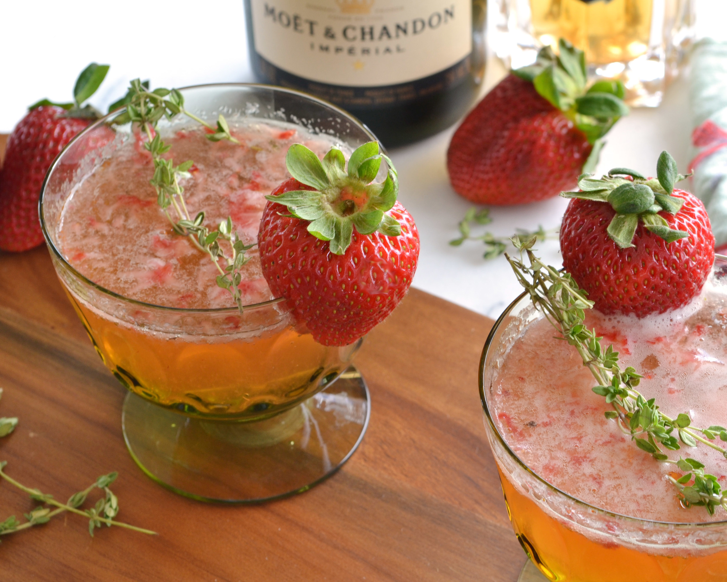 Strawberry Thyme Champagne Cocktail | Boxwood Avenue