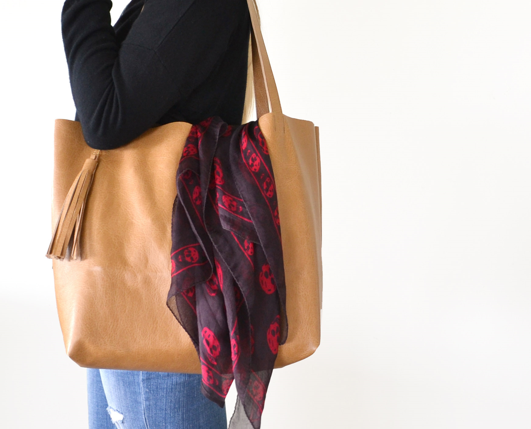 DIY Leather Tote with Tassel | Boxwood Avenue
