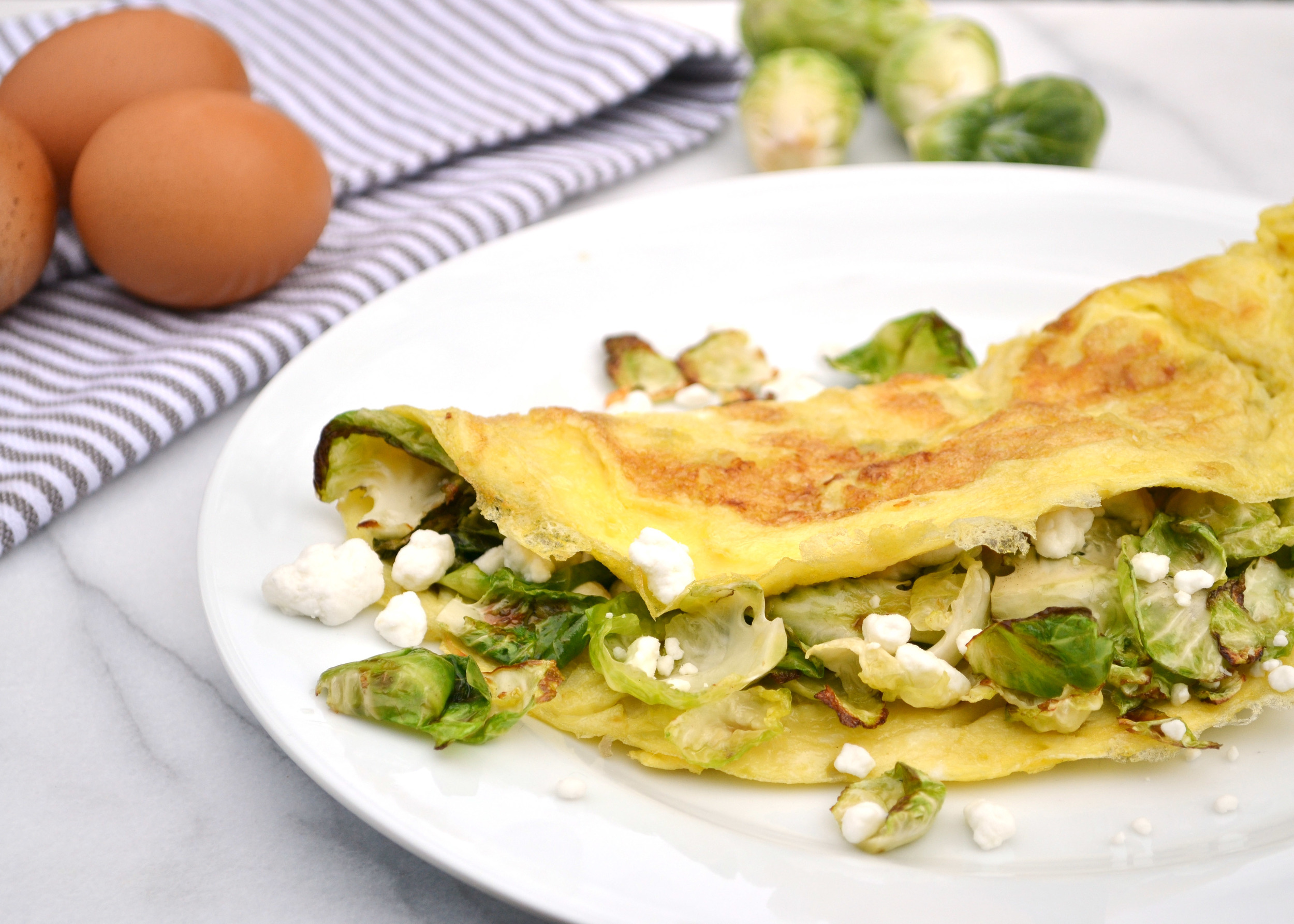Crispy Brussels Sprout & Goat Cheese Omelette | Boxwood Avenue