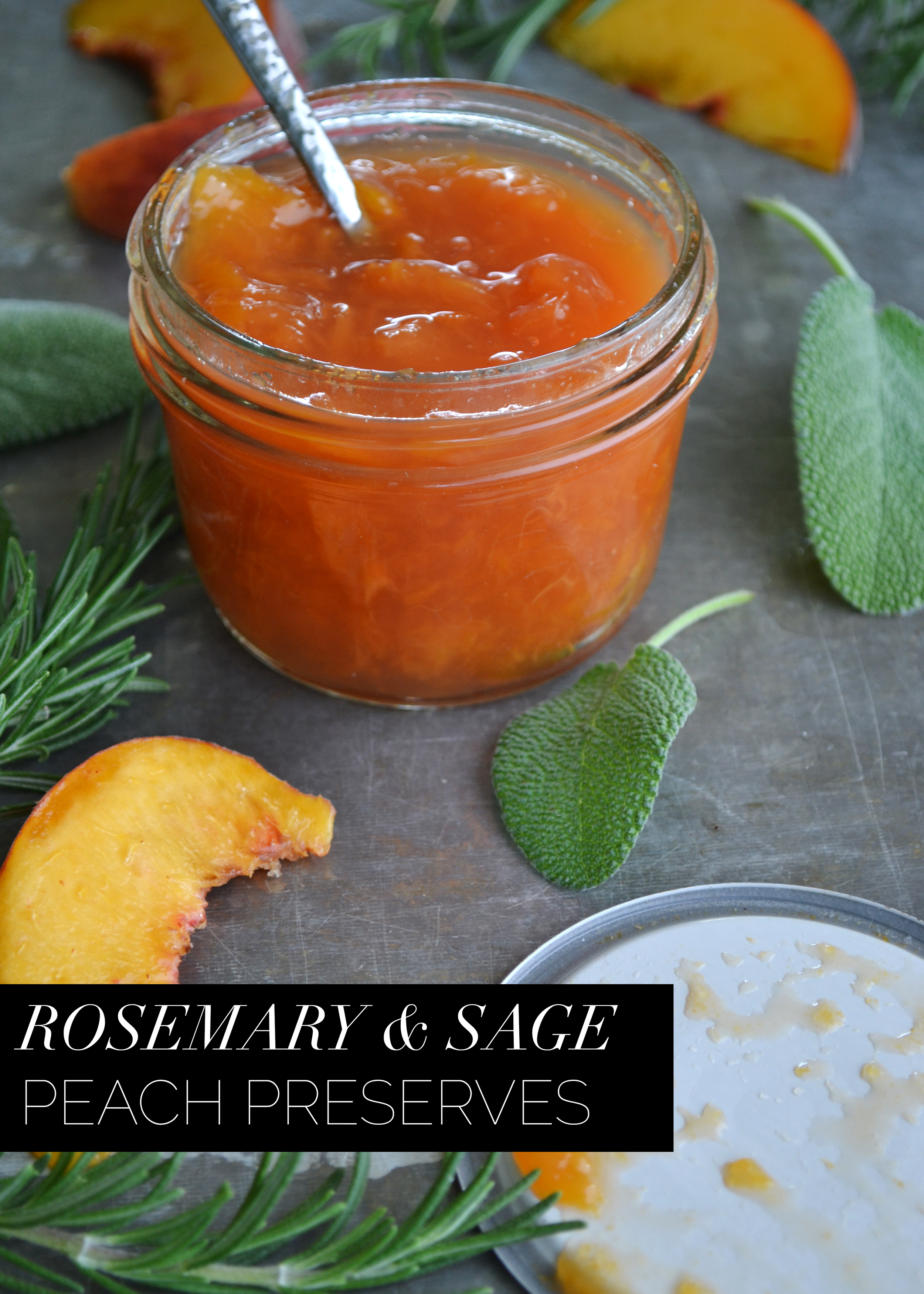 Rosemary & Sage Peach Preserve by Boxwood Avenue | Perfect to use as a marinade, or even in cocktails!