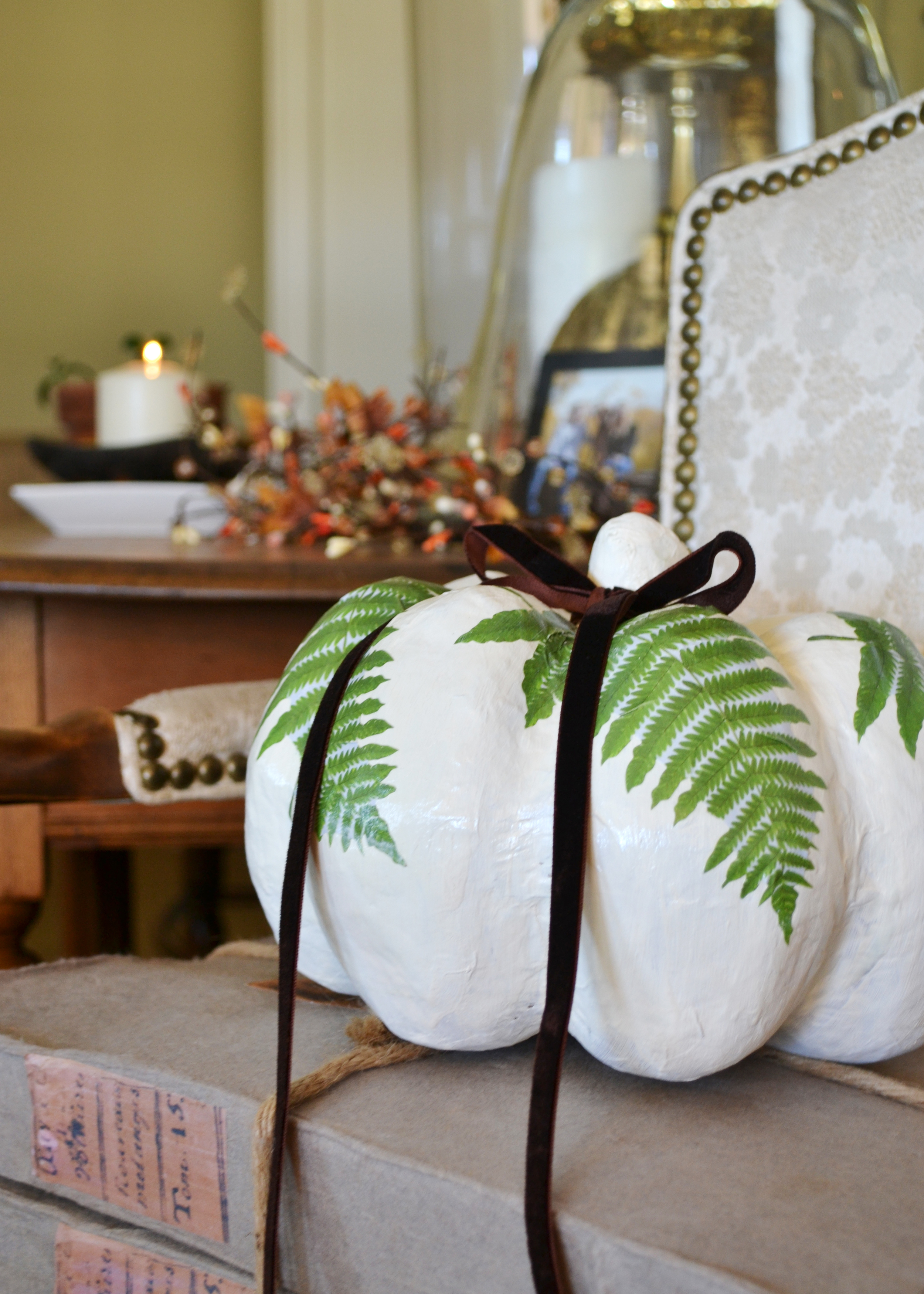 Use chalk paint on a paper mache pumpkin! From boxwoodavenue.com