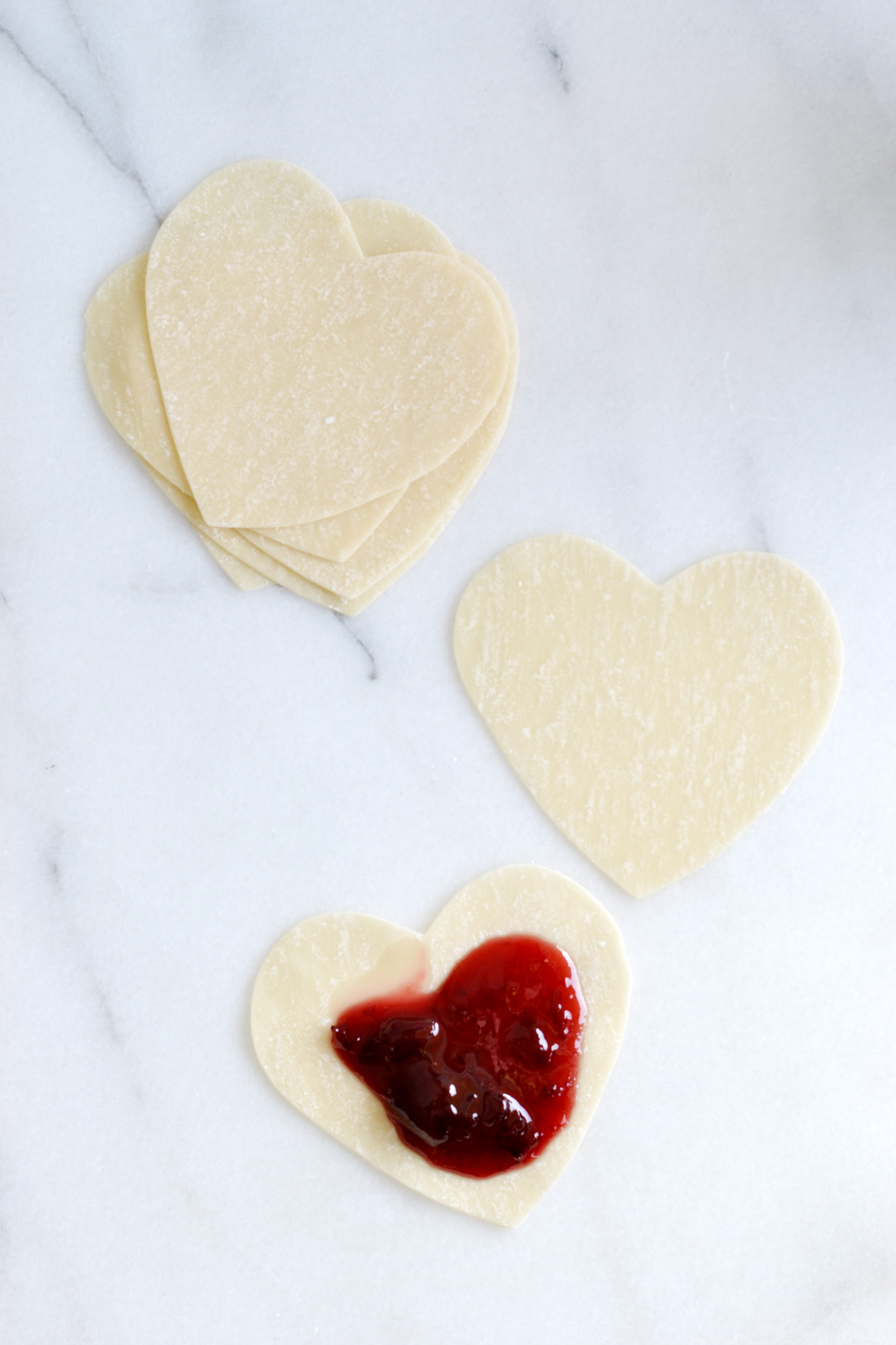 Heart shaped sweet potstickers for Valentine's Day from boxwoodavenue.com