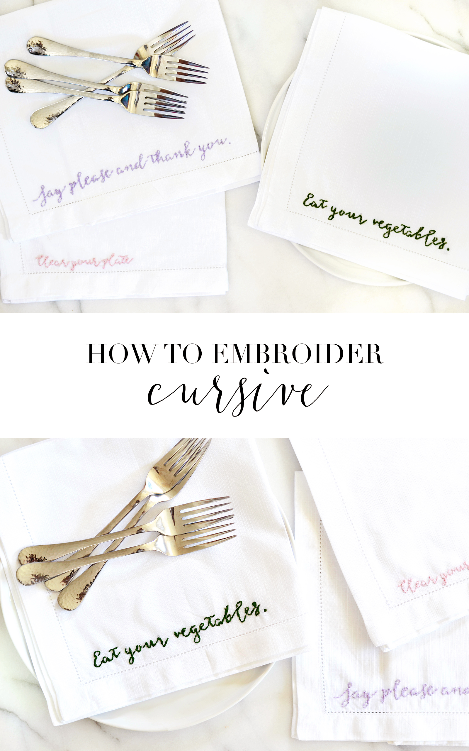 Techniques for embroidering cursive & fonts from boxwoodavenue.com