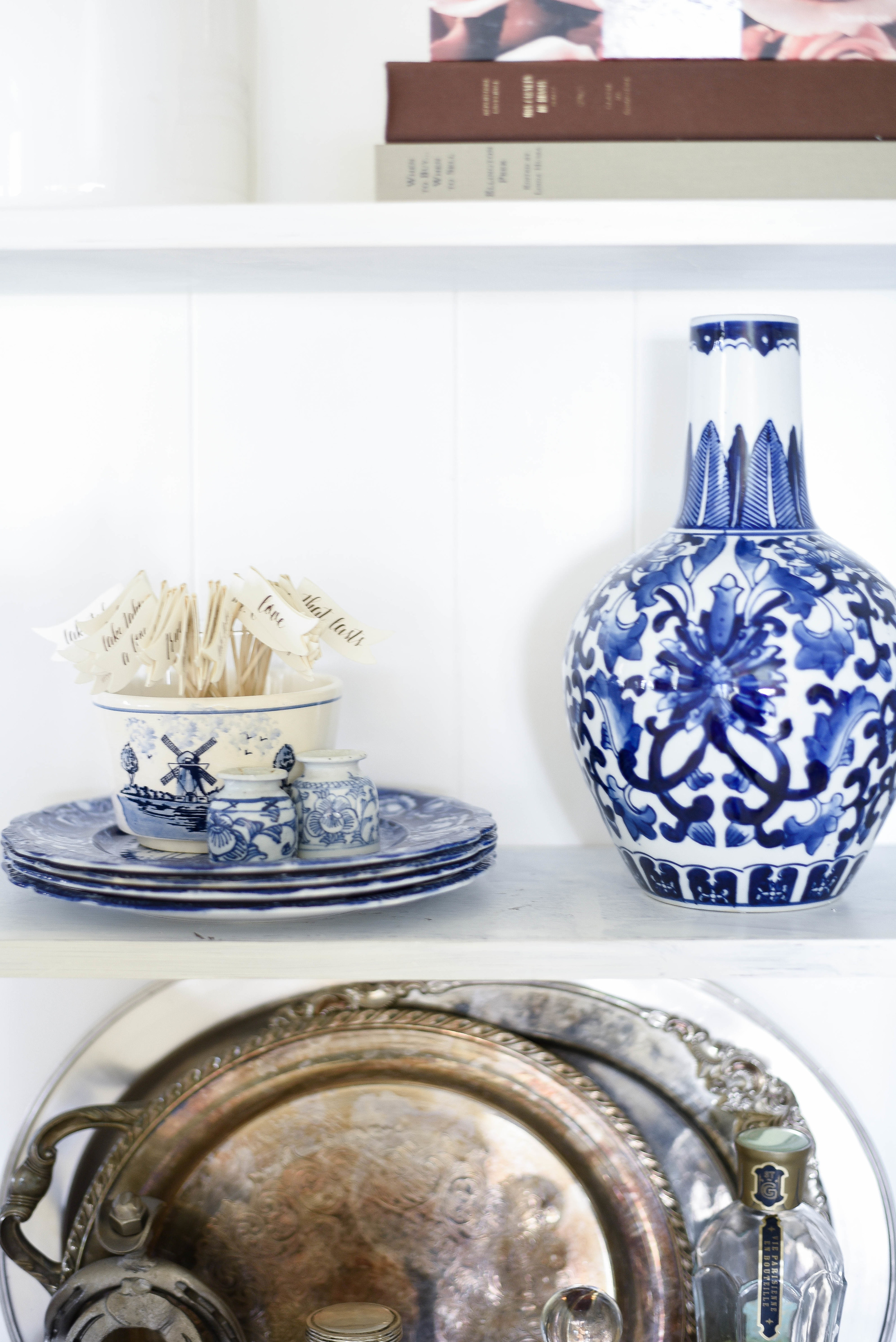 blue & white porcelain and sterling silver shelf styling | boxwoodavenue.com | rachel l'antigua photography