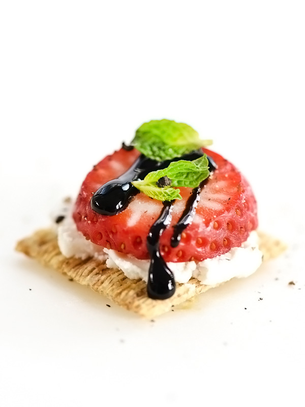 Triscuit recipes that are anything but basic from boxwoodavenue.com [Foodie Crush's Goat Cheese, Strawberry and Balsamic Glaze Triscuit]