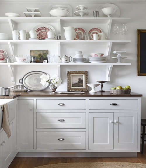Beautiful open shelving & fine art in kitchen | A Country Farmhouse | Country Living