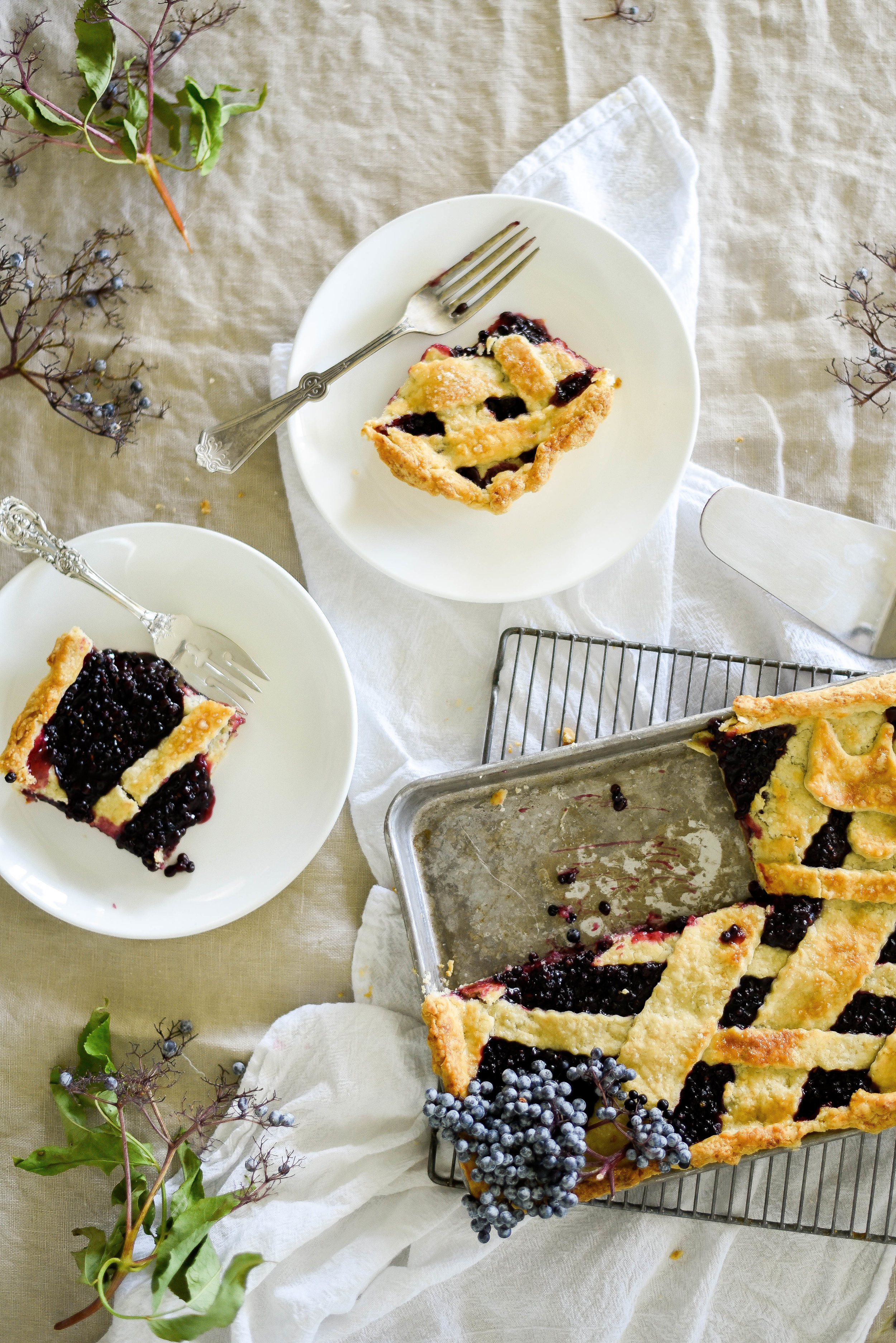 Flaky elderberry pie & all butter crust! (food photography) - boxwoodavenue.com