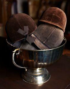 Vintage velvet helmets in trophy, equestrian style | Gunner and Grace