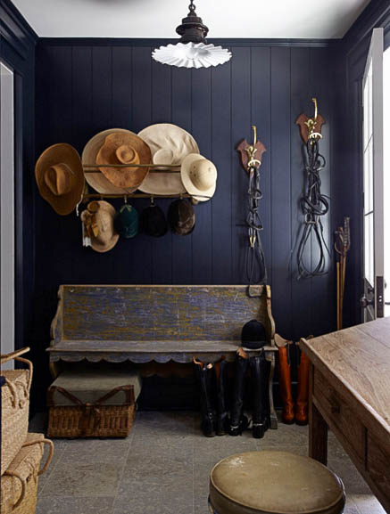 Navy wall & equestrian style interior | Windsor Smith