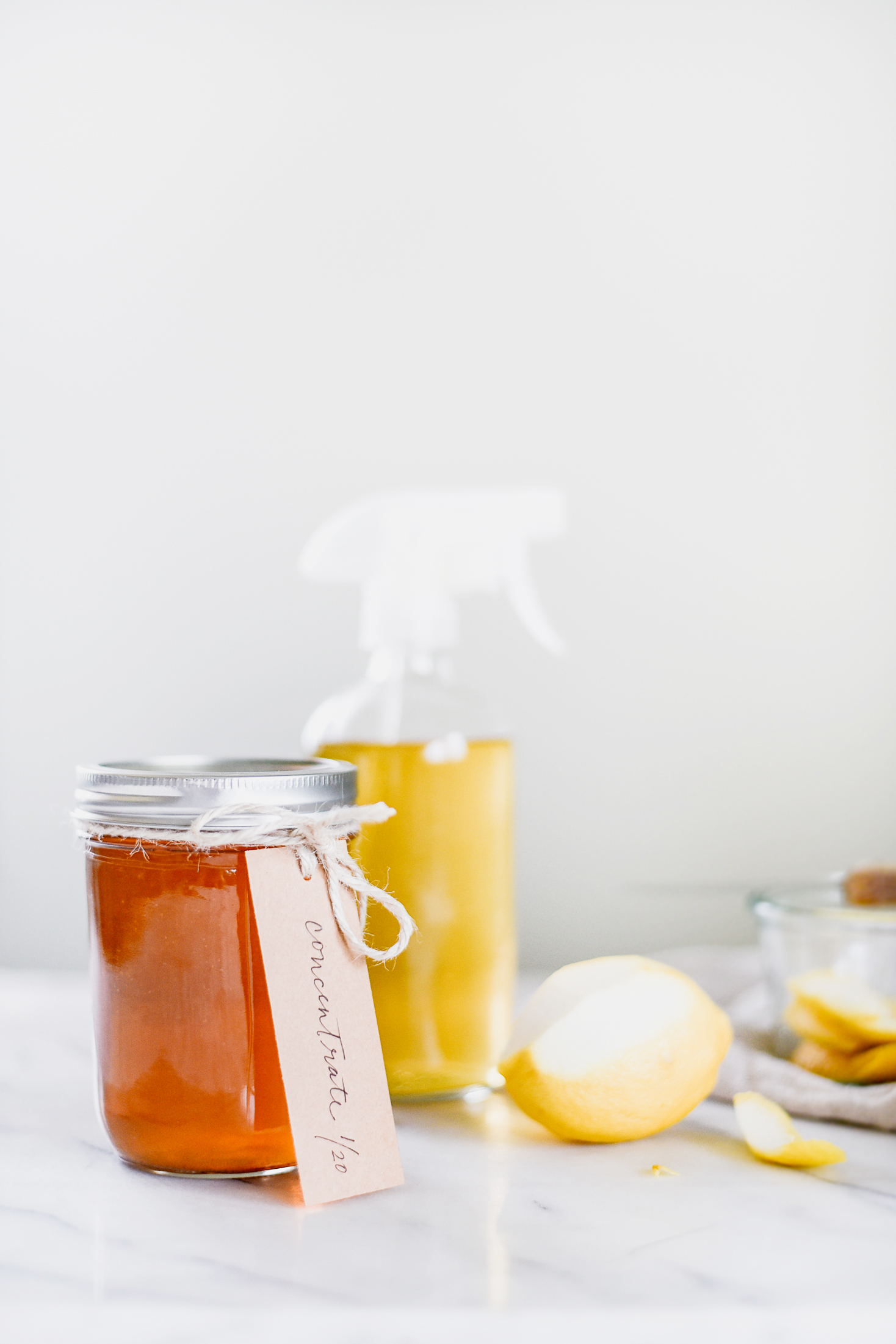 Use vinegar and citrus peels to make your own homemade countertop cleaner from boxwoodavenue.com