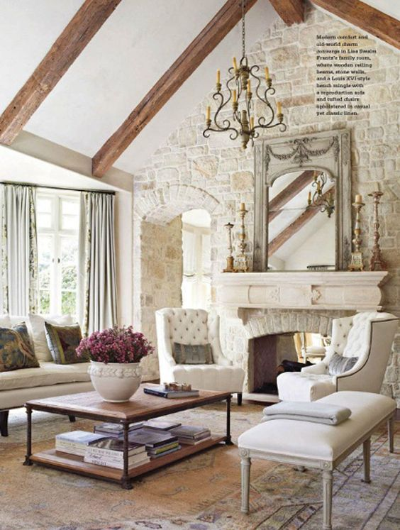 French Country Light Colored Stone Fireplace from BHG