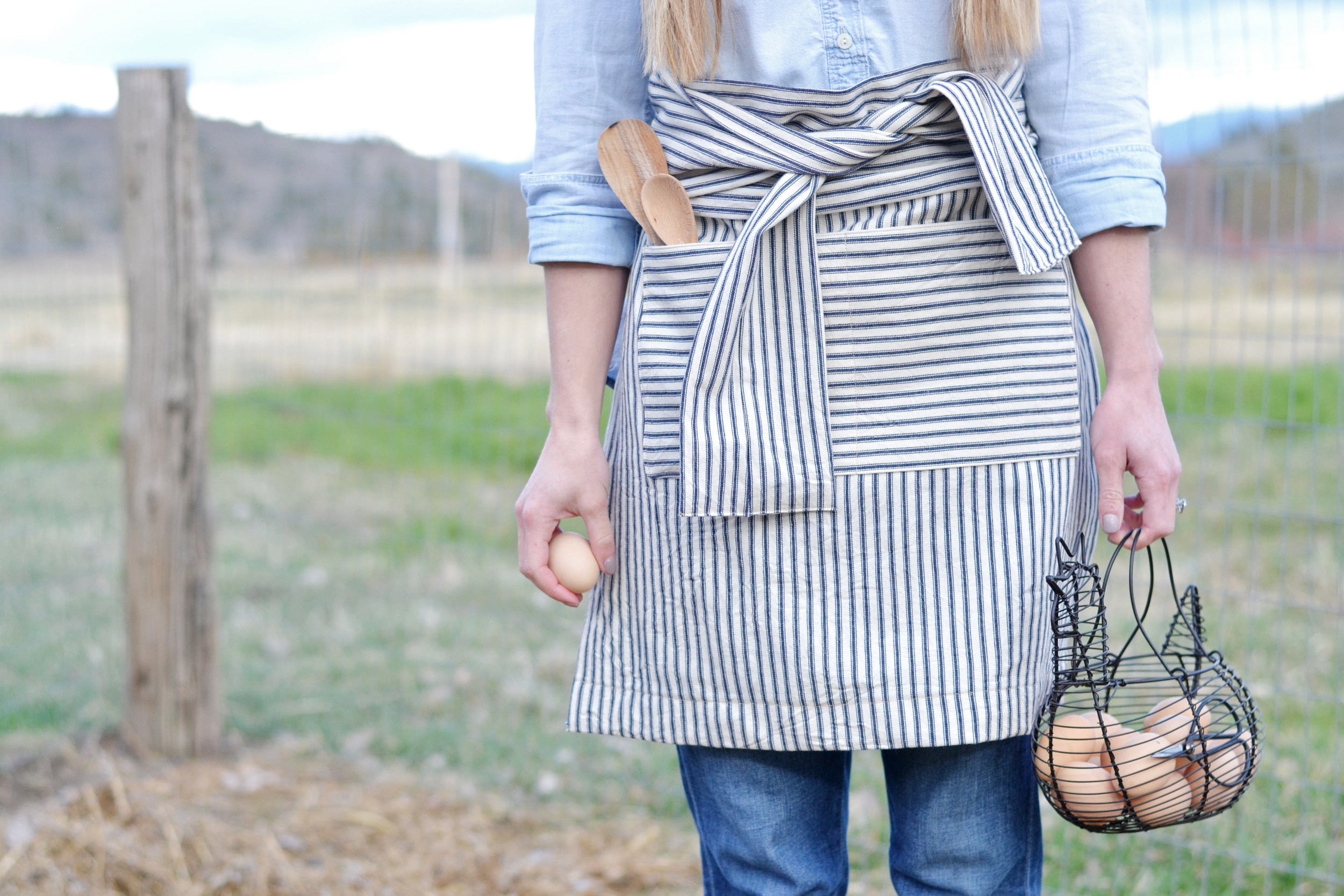 Handmade Striped Half Apron from BoxwoodAvenue.com