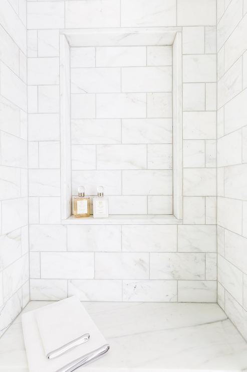 Walk in Marble Shower | Sarah Bartholomew Design www.sarahbartholomew.com