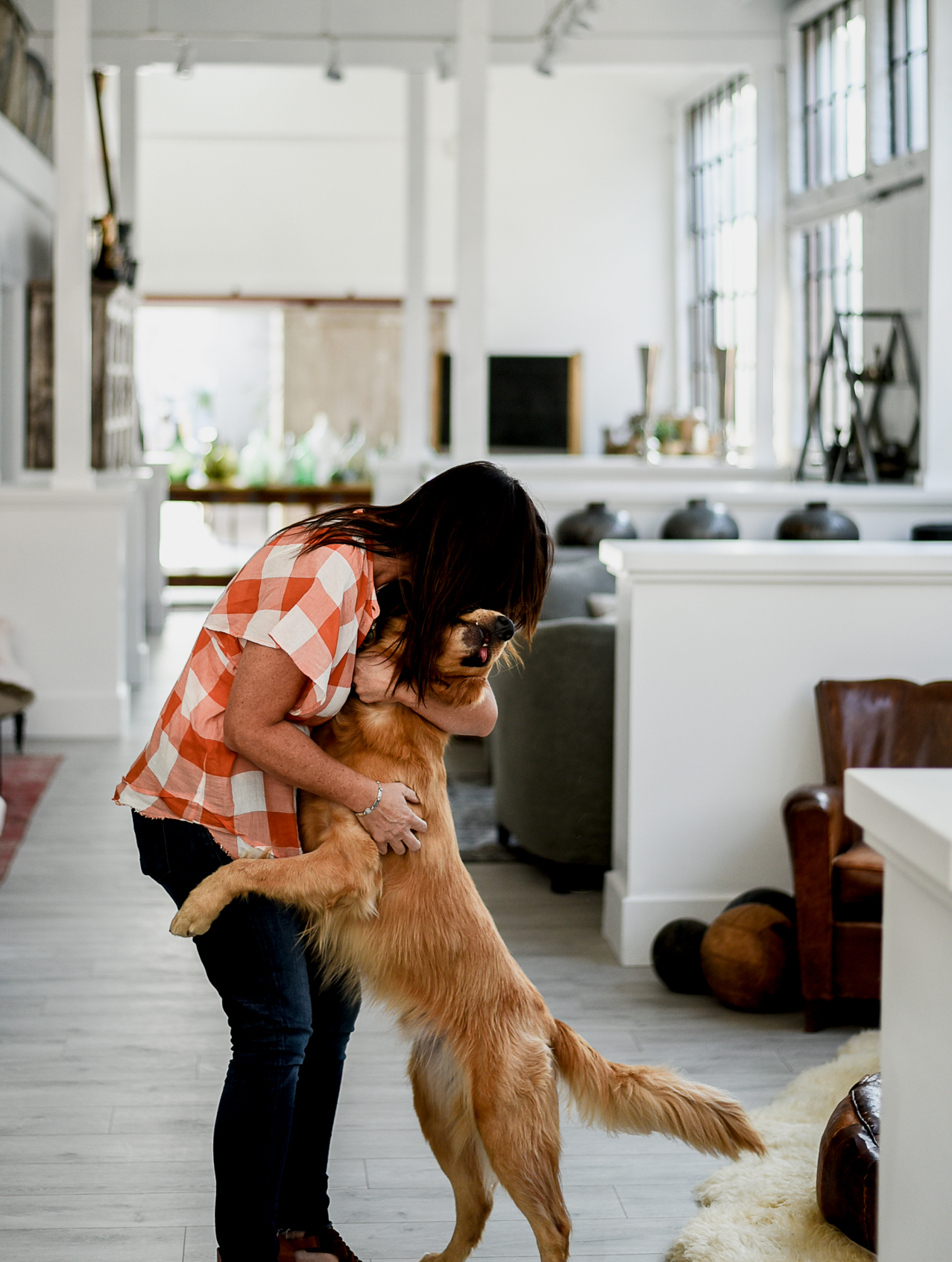 """Jeni and her sweet pup Willie, the girls at Found said, """"dogs and babies are always welcome."""""""