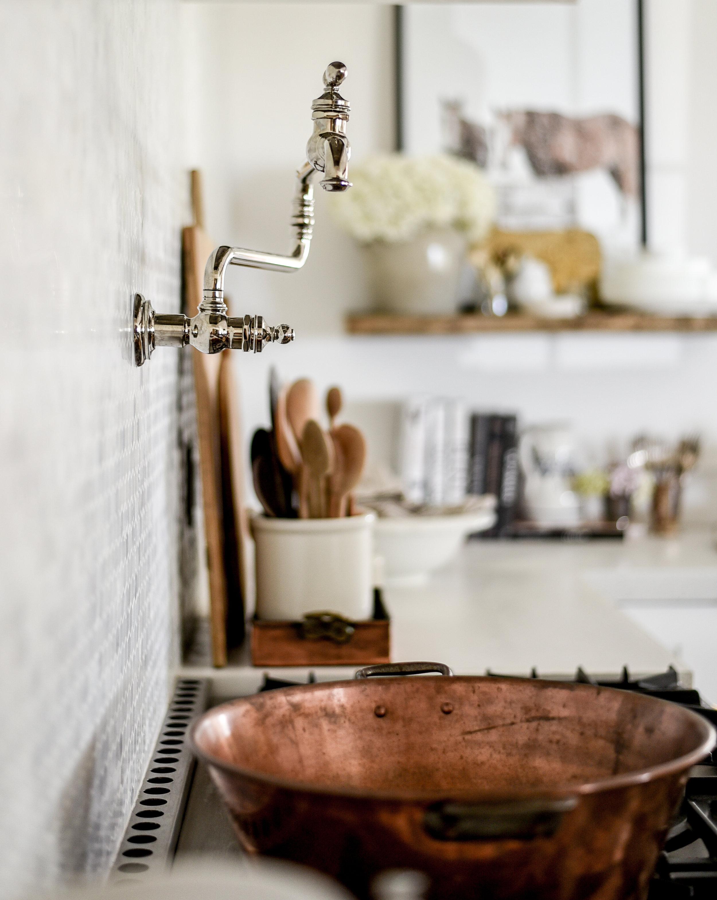 Kohler's artifacts pot filler & la cornue stove - a remodeled farmhouse kitchen | boxwoodavenue.com