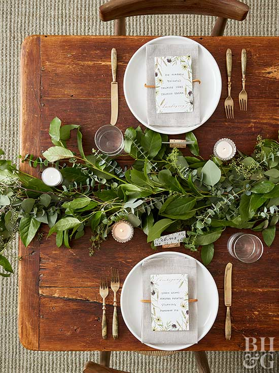 Greenery for a Thanksgiving Table   DIY from BHG