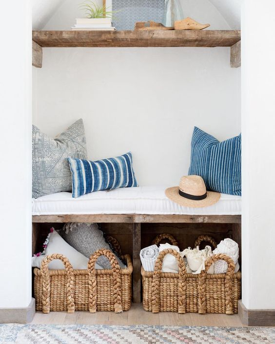 Entryway bench with rustic wood from Kate Lester Interiors