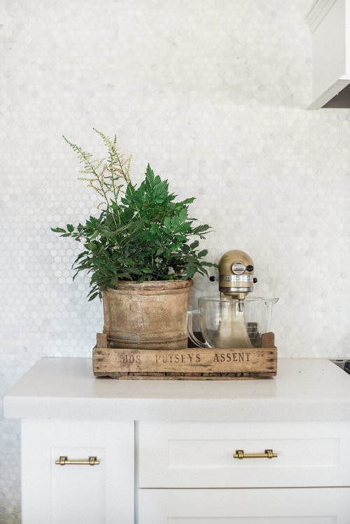French crate in kitchen with potted plant and kitchen mixer | boxwoodavenue.com