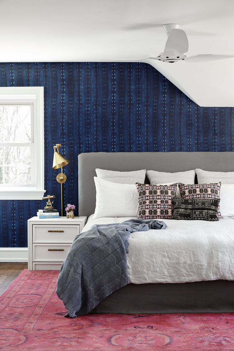 Indigo & pink master bedroom by Michelle Gage