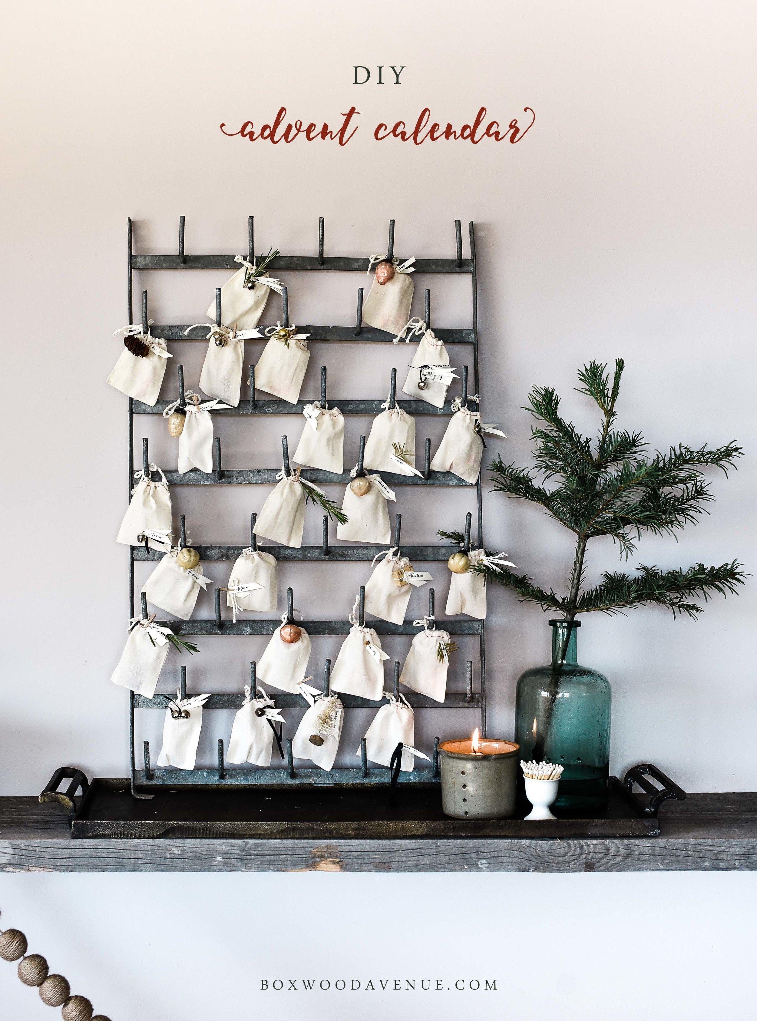 DIY Advent Calendar using a vintage bottle drying rack & muslin bags - so cute for a farmhouse Christmas! boxwoodavenue.com