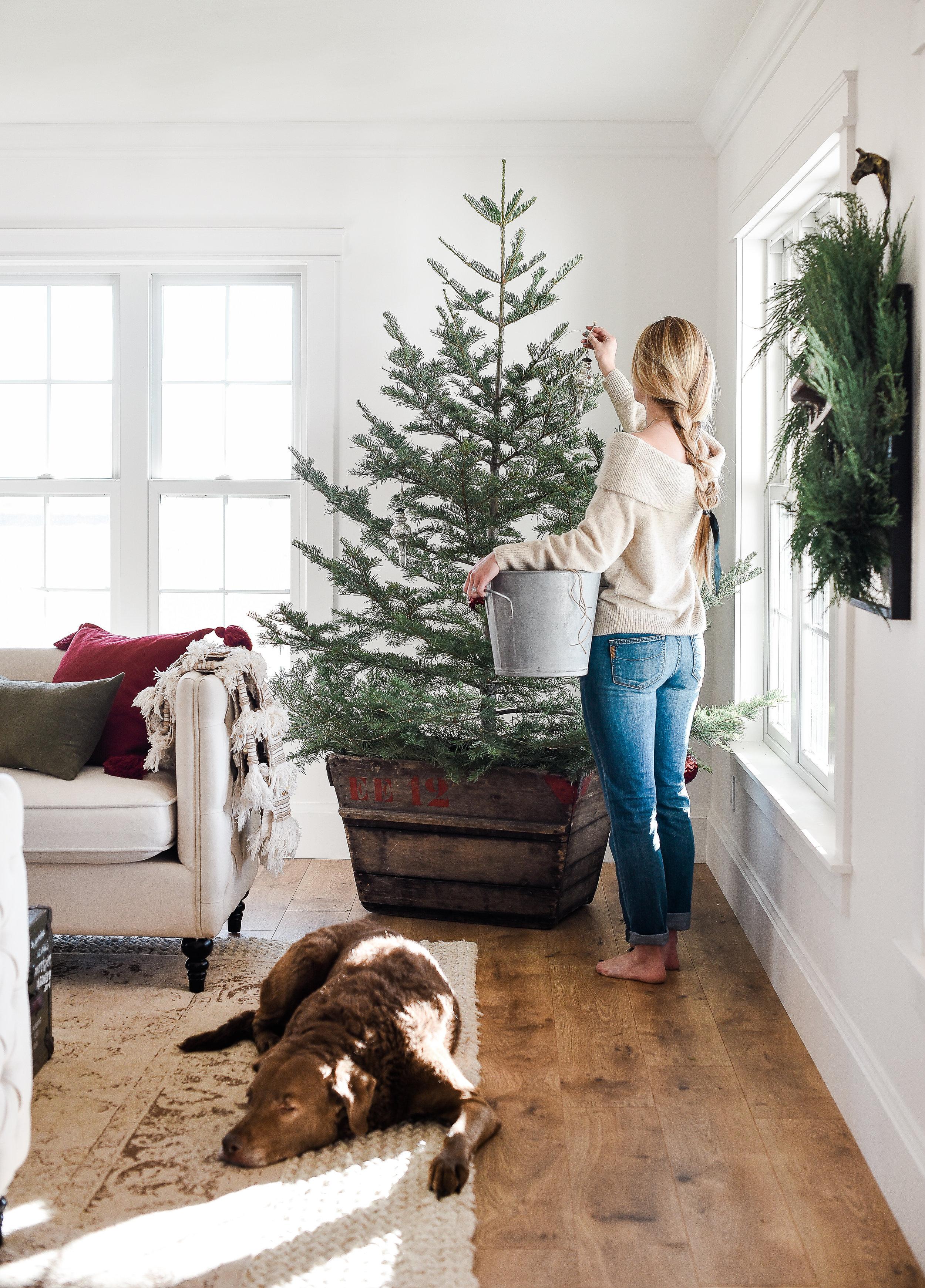 Farmhouse Christmas decorating ideas for a simple tree from boxwoodavenue.com