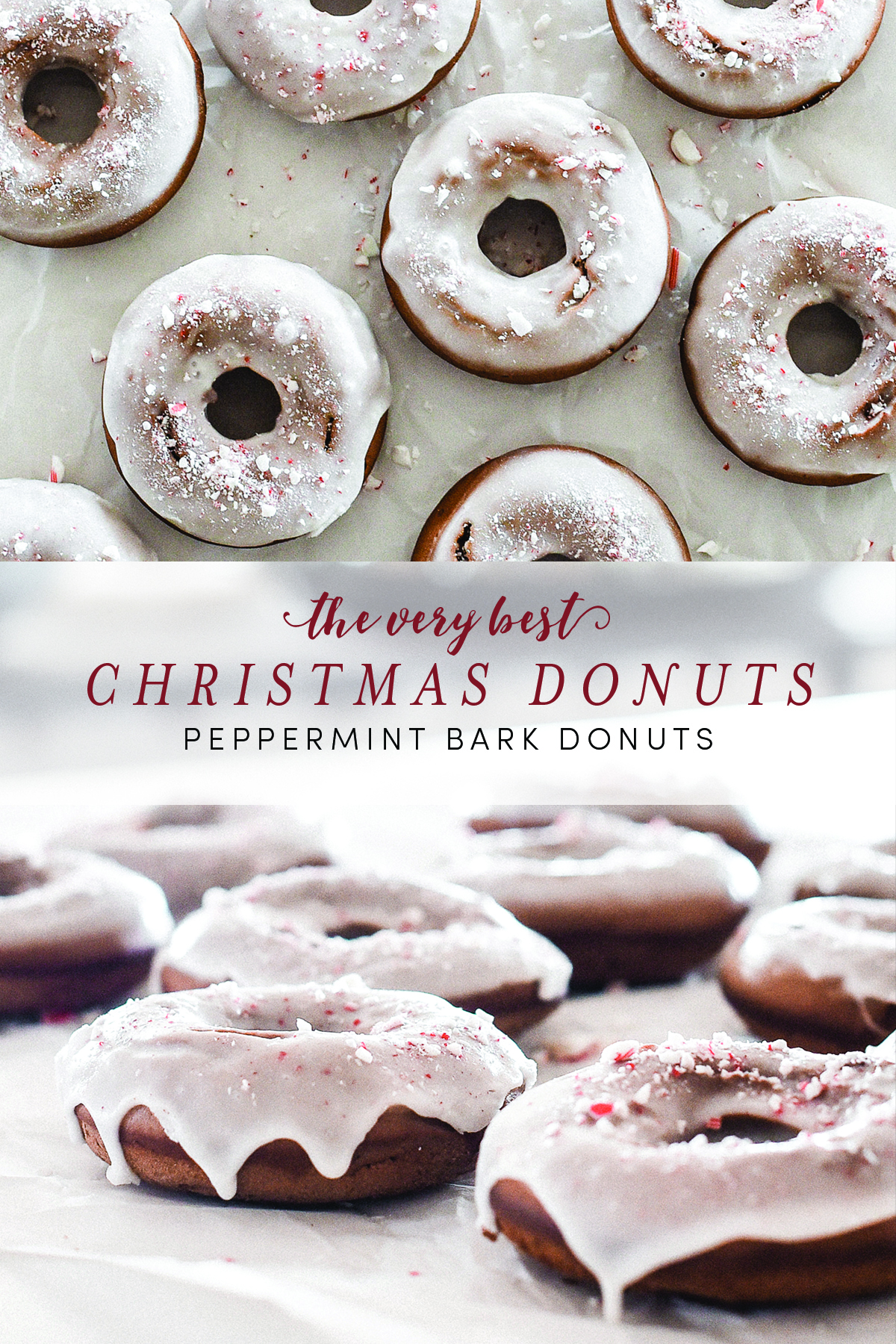 Christmas donuts are the perfect Christmas morning treat - these baked peppermint bark donuts are delicious! boxwoodavenue.com #christmastreats #christmasbaking