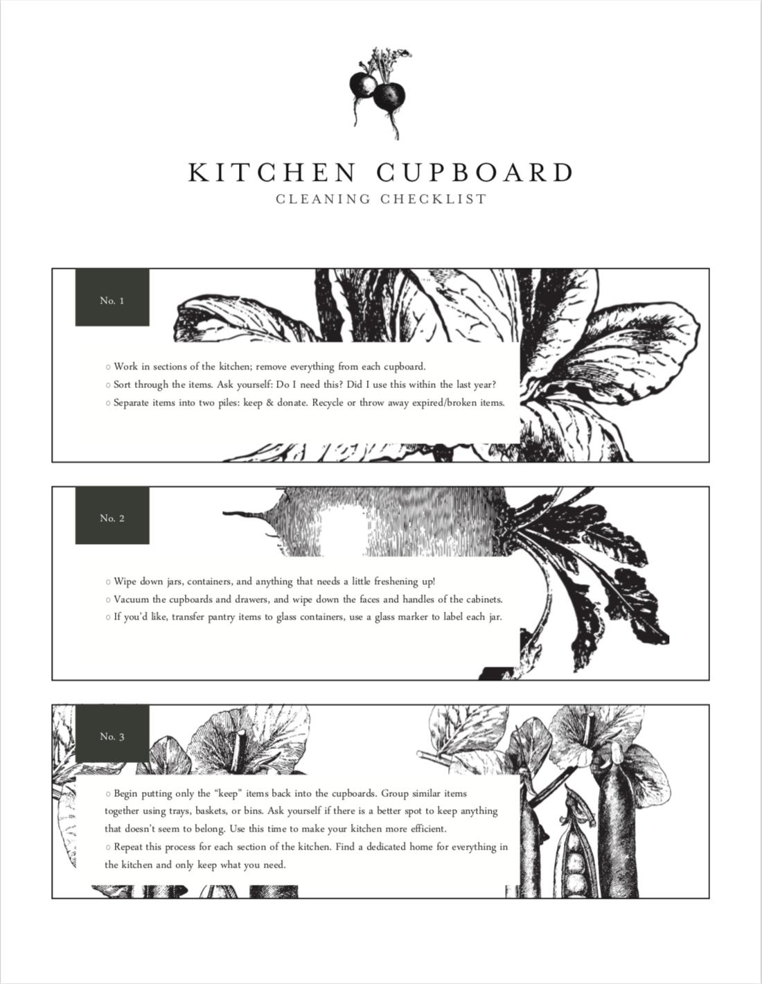 Download my kitchen cupboard clean-out checklist -