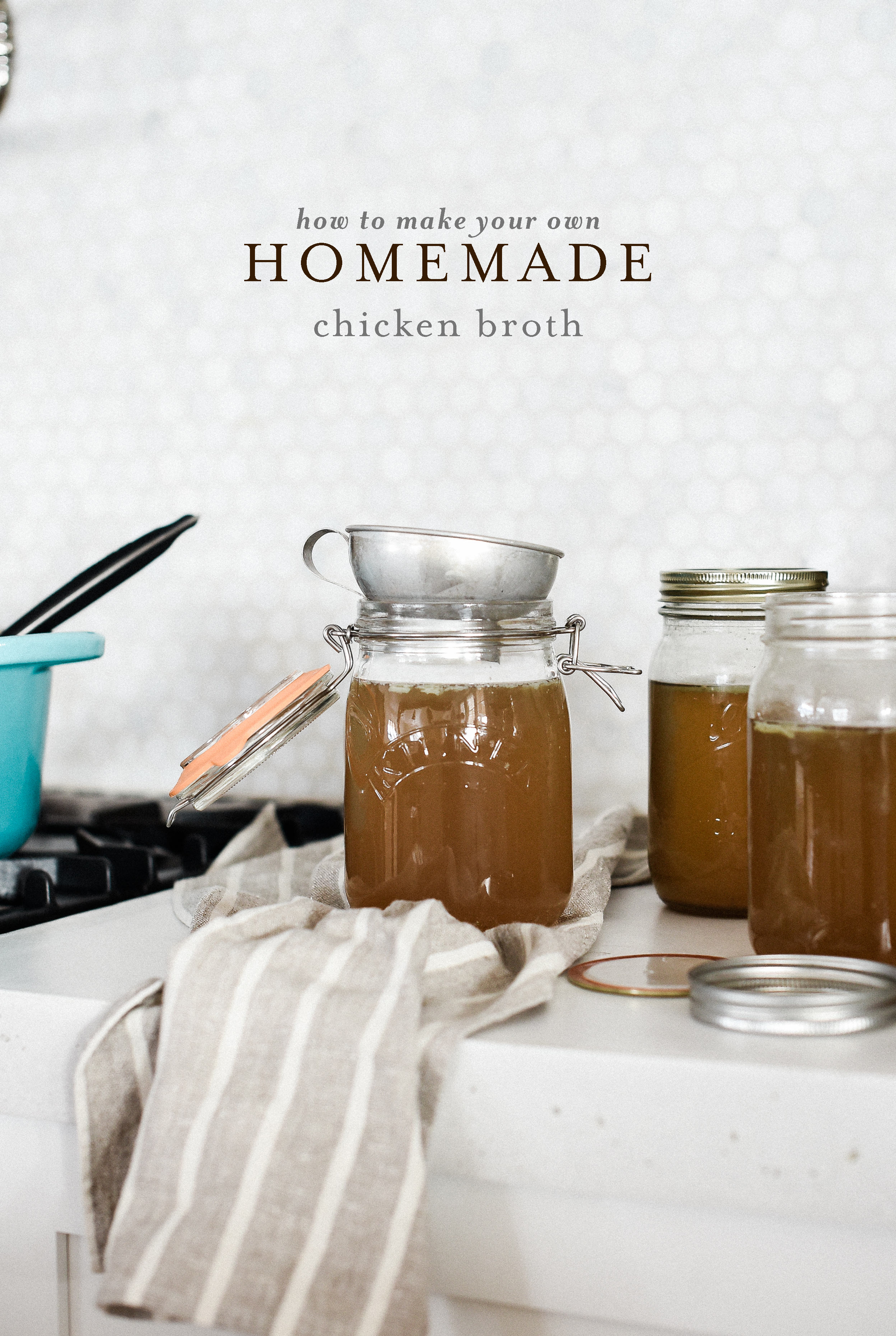 How to make your own homemade chicken broth - easy homemade chicken broth | frugal living and homesteading - freezing in glass jars | #chickenbroth #homesteading #frugalliving
