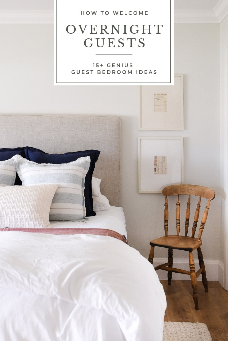 Simple tips and tricks for welcoming overnight guests! These ideas for your guest bedroom will make friends and family feel cozy and loved! #guestbedroom #bedroomideas #overnightguests