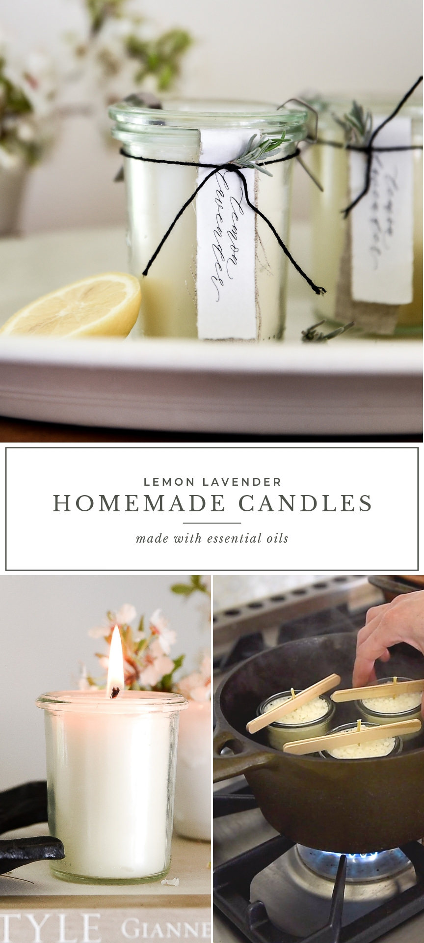 Learn how to make homemade candles with this DIY candle tutorial! These all natural homemade candles are scented with essnential oils! #greenliving #homemadecandles #essentialoils #diycandles #boxwoodavenue