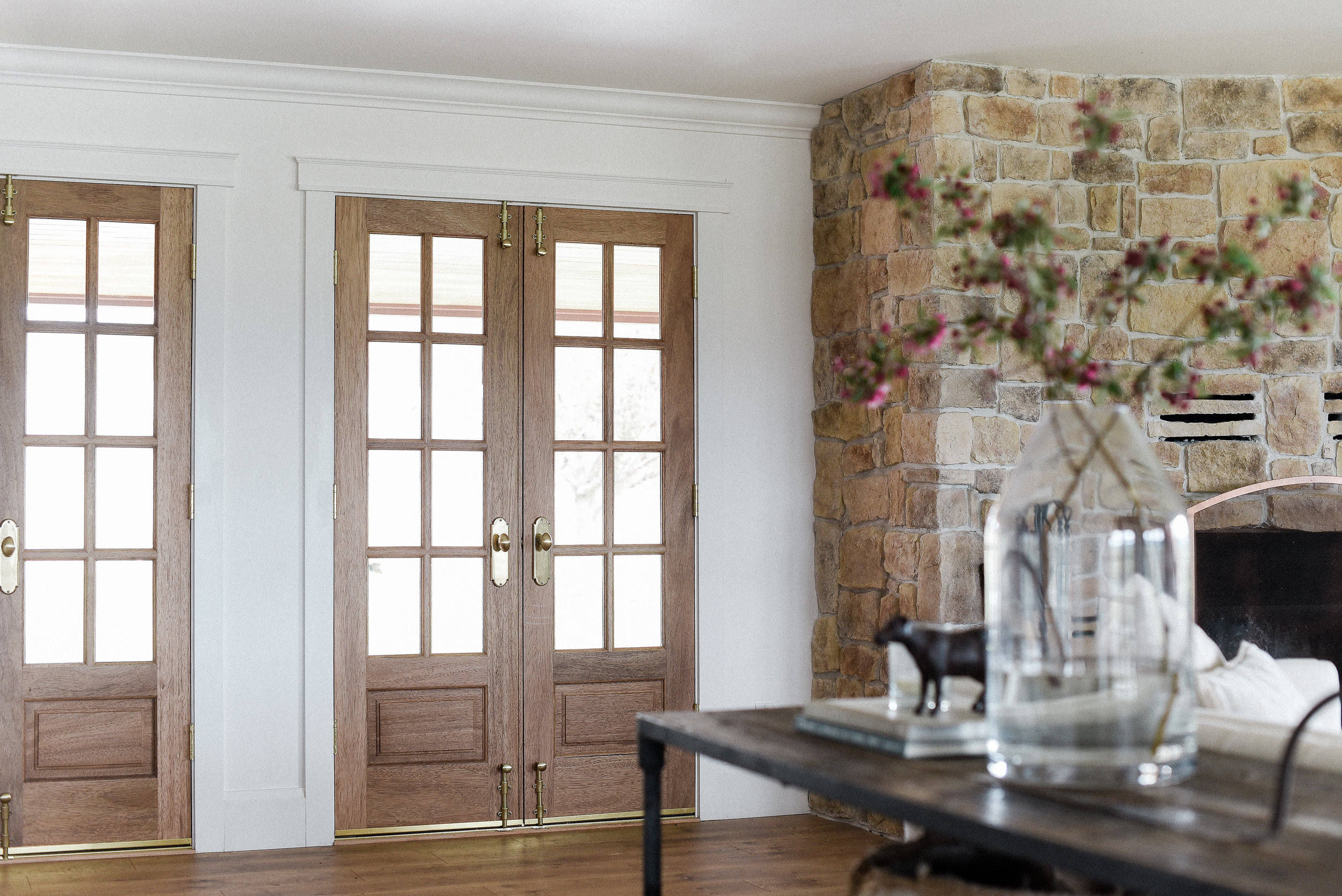 Wooden French doors - a set of narrow wooden french doors | modern farmhouse design inspiration from boxwood avenue