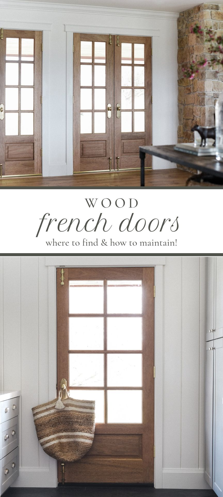 Wood French doors with white trim in modern farmhouse remodel | #boxwoodavenue #wooddoors #frenchdoors #farmhousedesign #modernfarmhouse