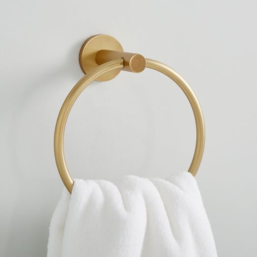 Contemporary bathroom design brass towel ring for next to vanity