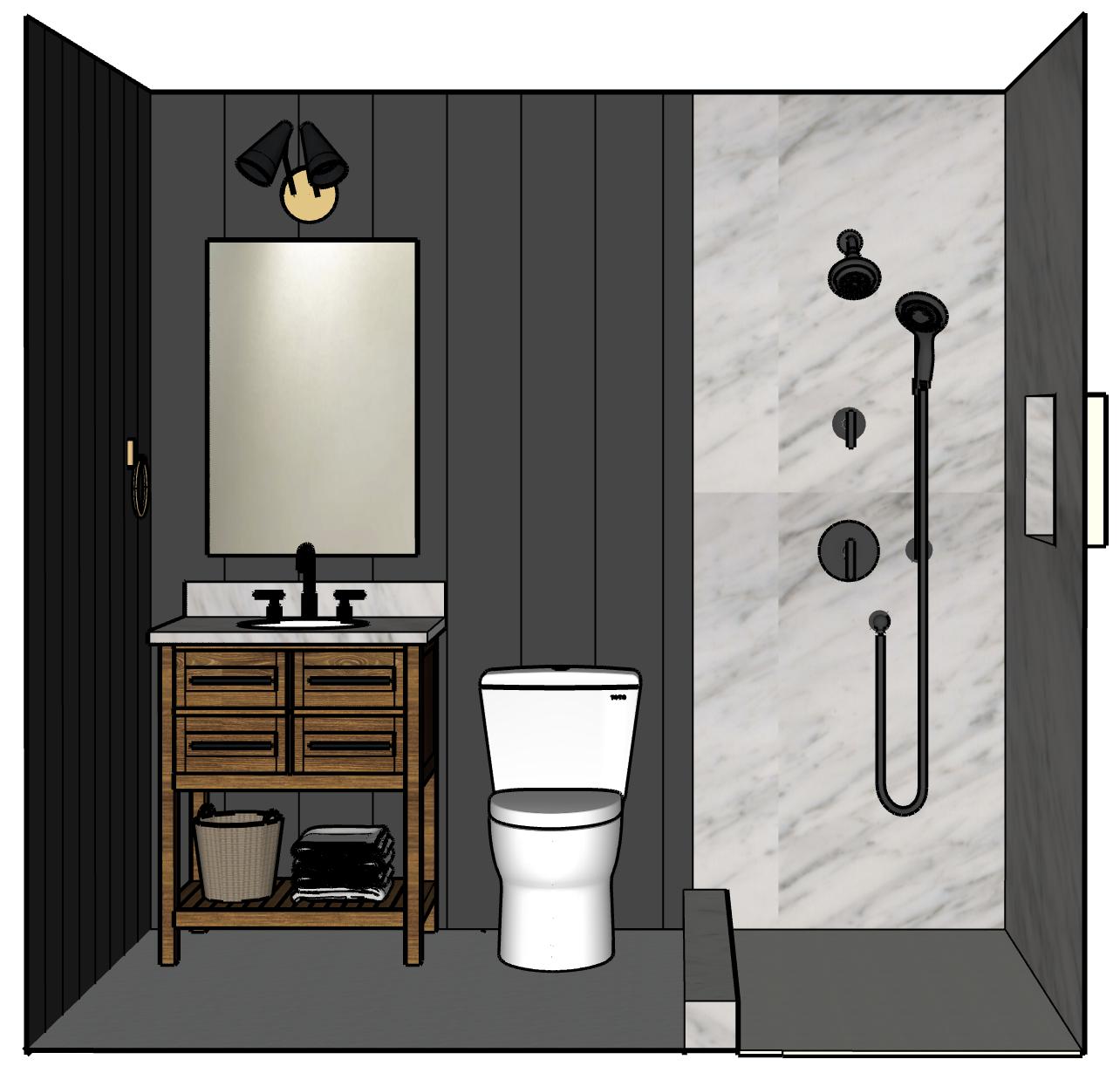 Black Bathroom Design Plan for Black Bathroom Remodel #blackbathroom