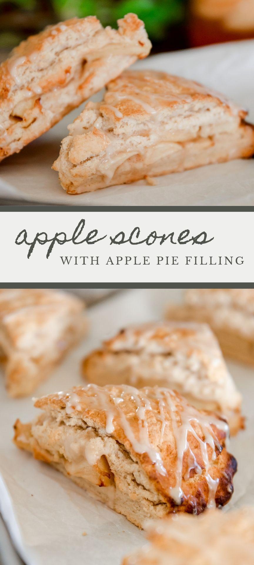 Yummy apple dessert recipe idea: apple scones with apple pie filling and cinnamon glaze! #applerecipes #applescones #appledesserts