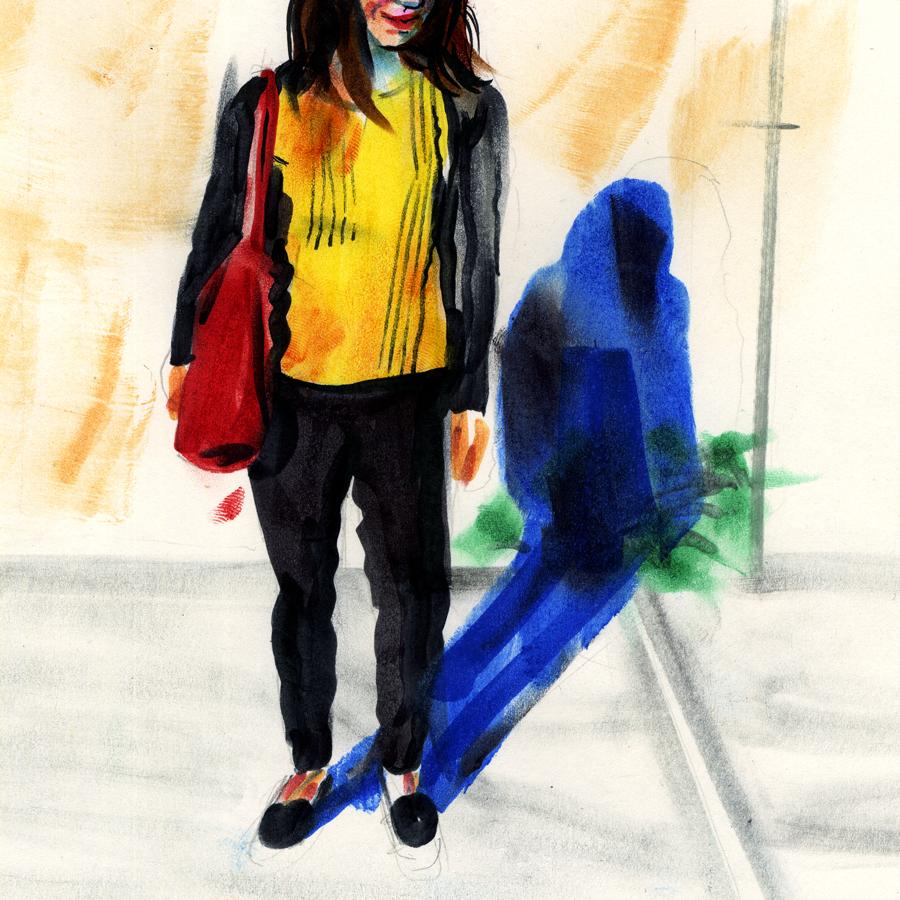 A portrait of my wife standing on a Brooklyn sidewalk