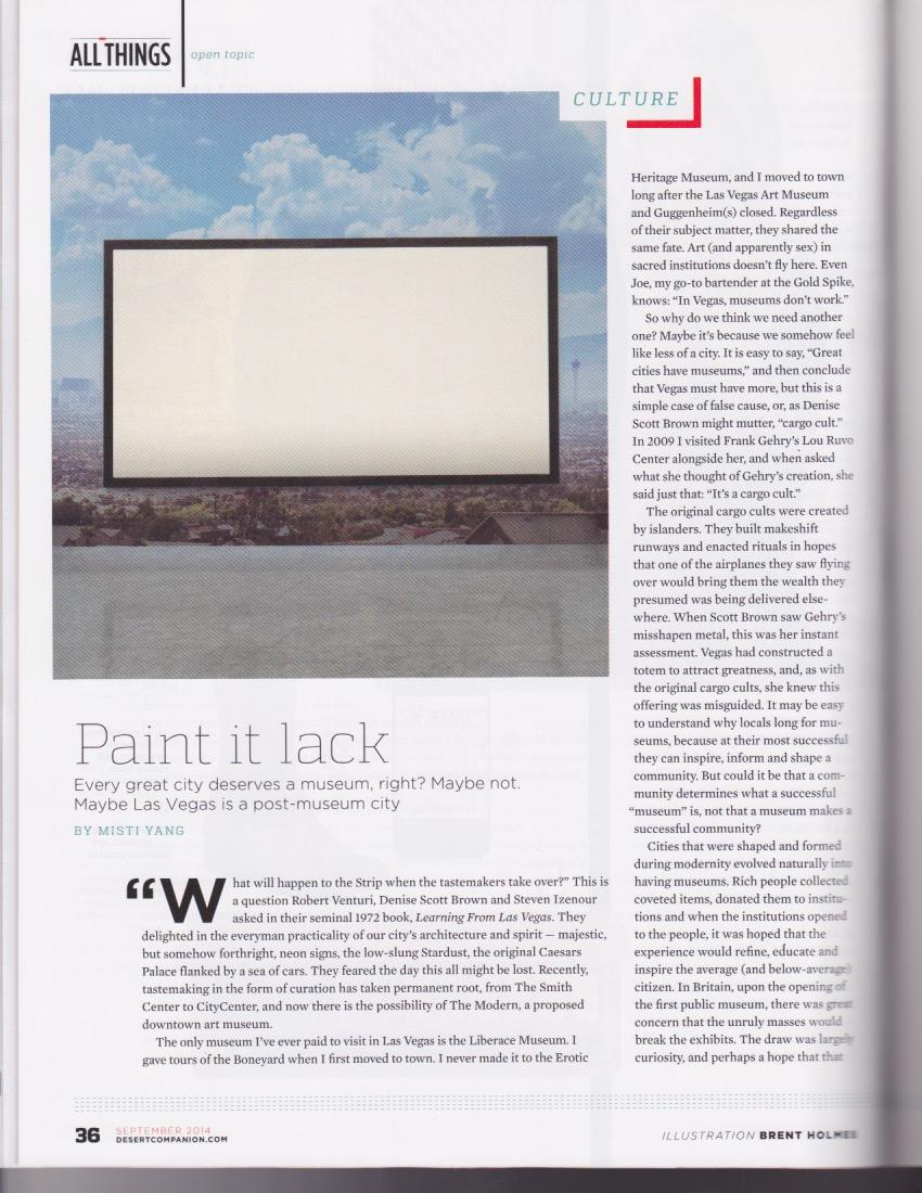 Paint it lack - Desert Companion, September 2014