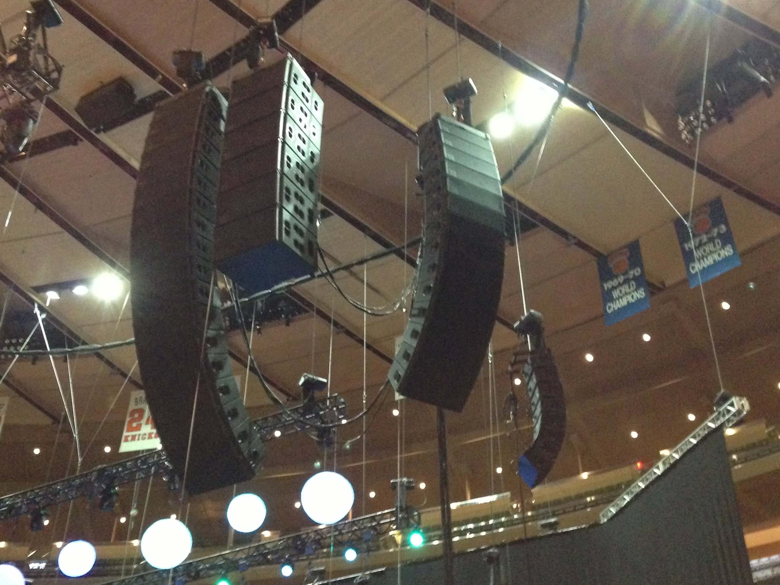 Stage Left at Madison Square Garden, 2015 - Main, Sub, Side, and Rear hangs of d&b line array.