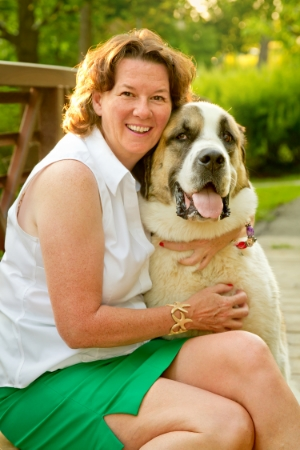 Pillow is a goofy 145lbs St. Bernard/Great Pyrenees cross. She has a loyal following on Sue's Facebook and Instagram pages, and happily accepts hugs and treats on her daily walks.