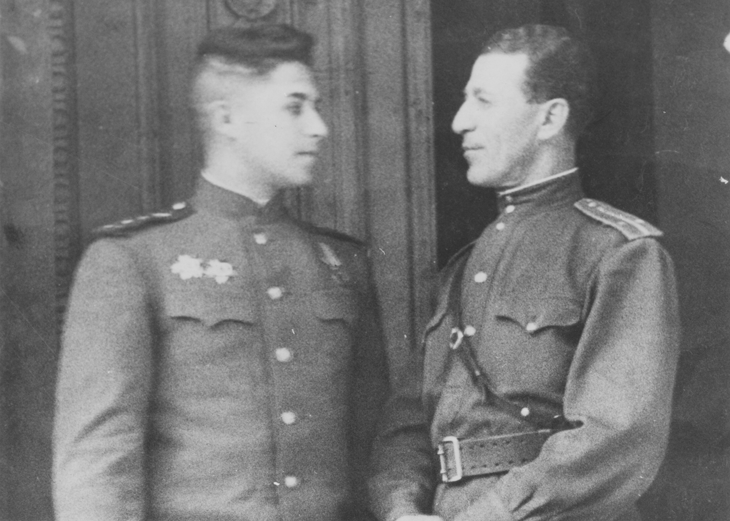 Two captains: Leonid Rozenberg (on left) and his father Boris Rozenberg on right. Byalostok ,  Ukraine . 1944