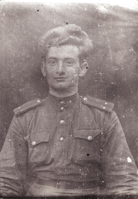 "Portrait of Chernoguz. Written on back: ""To my dear friend Vanya from Mikhail. Western Front. November 19, 1943."""