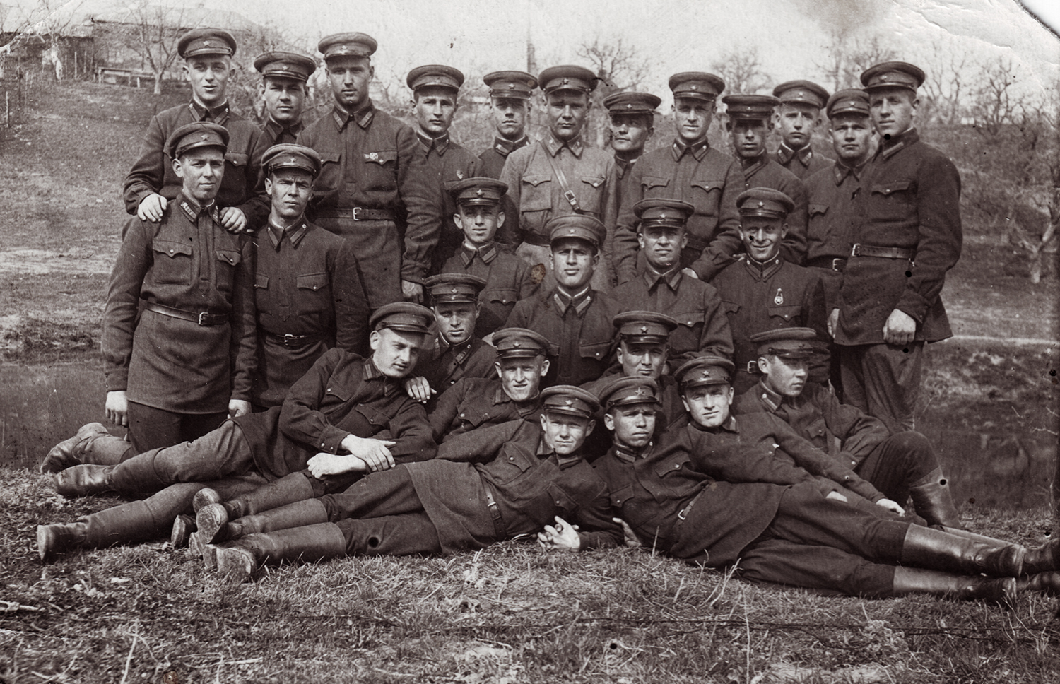 Cadet class,  infantry school of Berdichev. Semyon Rabovsky top row, left. 1940.