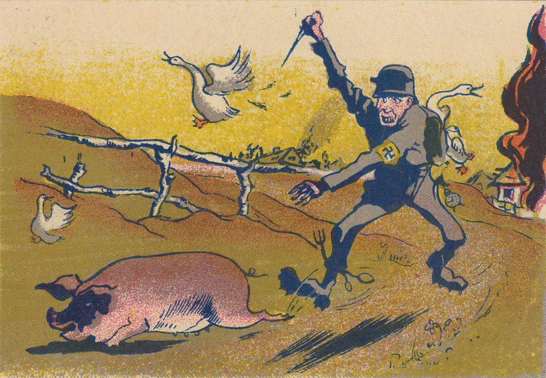 The hungry German. Artist V. Nikolaev. Postcard.