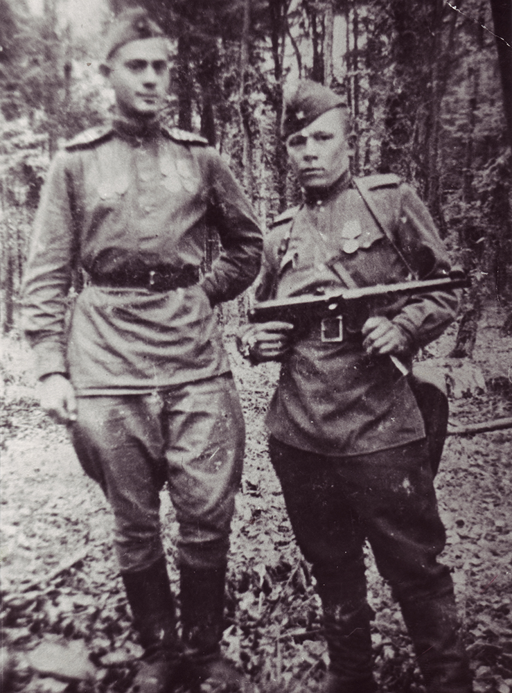 Photograph, Aaron Chernyak on left. West Prussia. Autumn, 1944