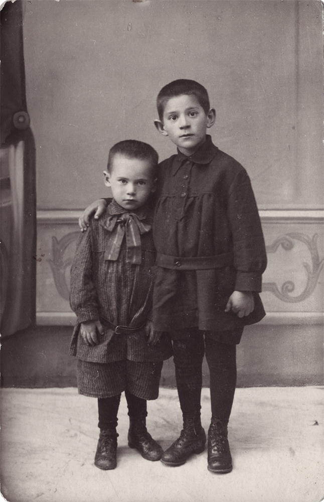 Photograph, Aaron Chernyak on left with his brother. Livny, Orel oblast, Russia. January 21, 1929