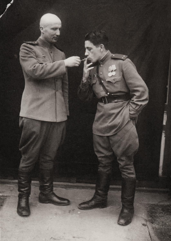 Aaron Frenkel on right. Field engineer, railroads. Germany. March 28, 1945.
