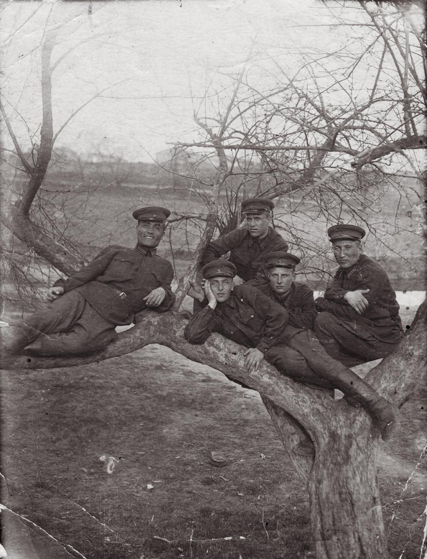 Cadet Semyon Rabovsky laying down, center. Kiev Infantry School. 1941, pre-war.